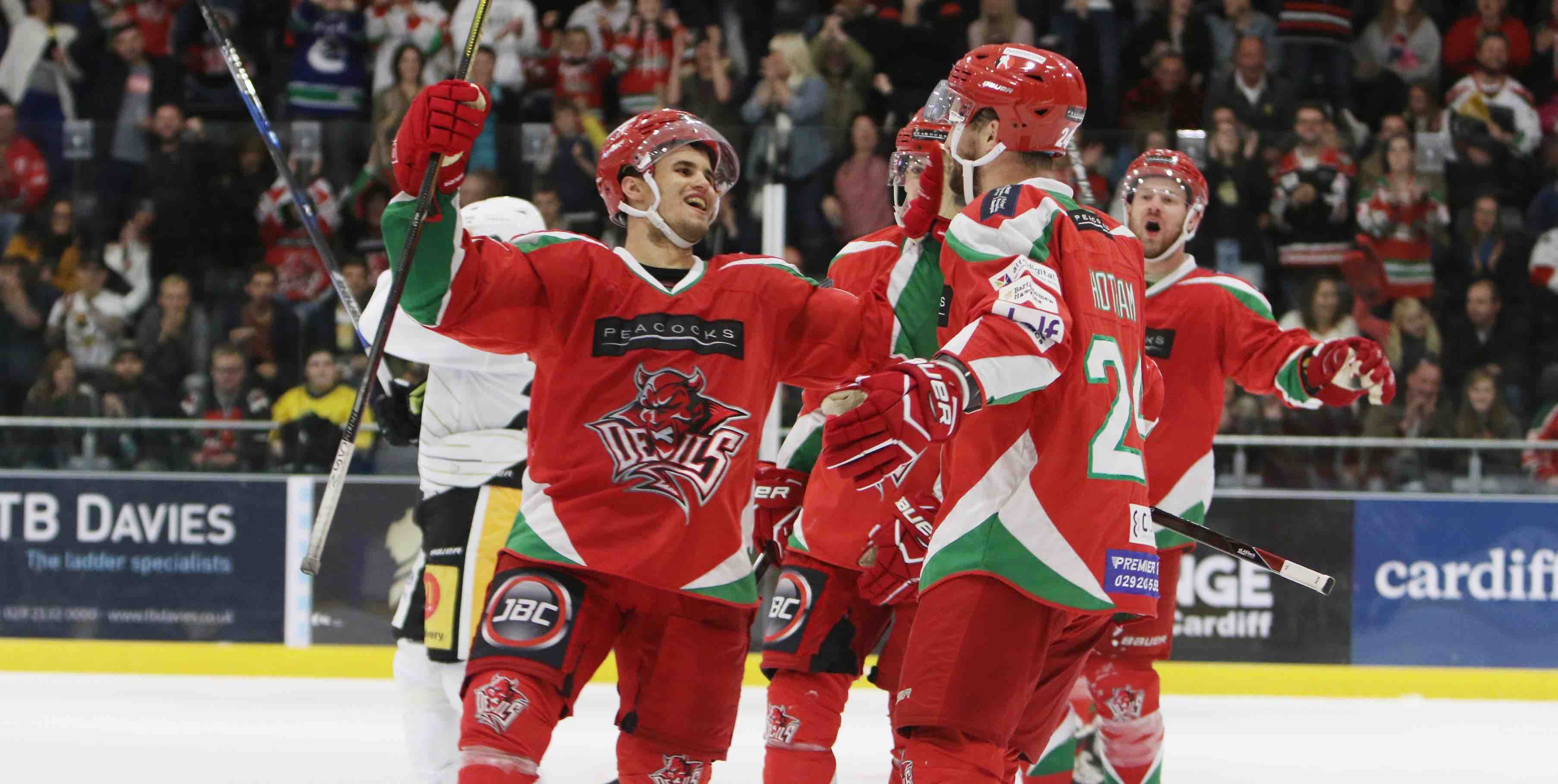 Bryce Reddick celebrates scoring for Cardiff Devils against Nottingham
